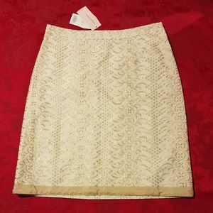 Banana Republic Gold Embroidered Pencil Skirt